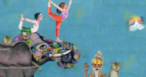 Zeichnung Elefant und Yogis